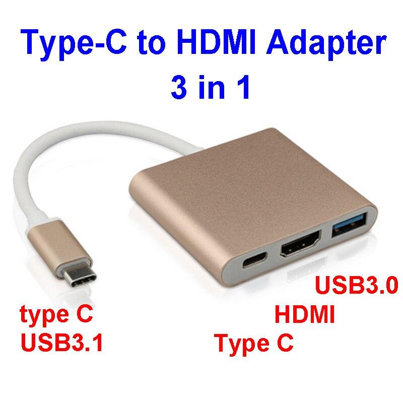 bilder für Combo 3-in-1 USB3.1 Typ C zu HDMI USB3.0 Ladekabel HDMI Hub Adapter Für handy MacBook typ C geräte