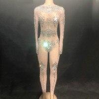 Блестящая праздничная одежда со стразами; Модный сексуальный костюм телесного цвета; большой стрейчевый танцевальный костюм; цельнокроено
