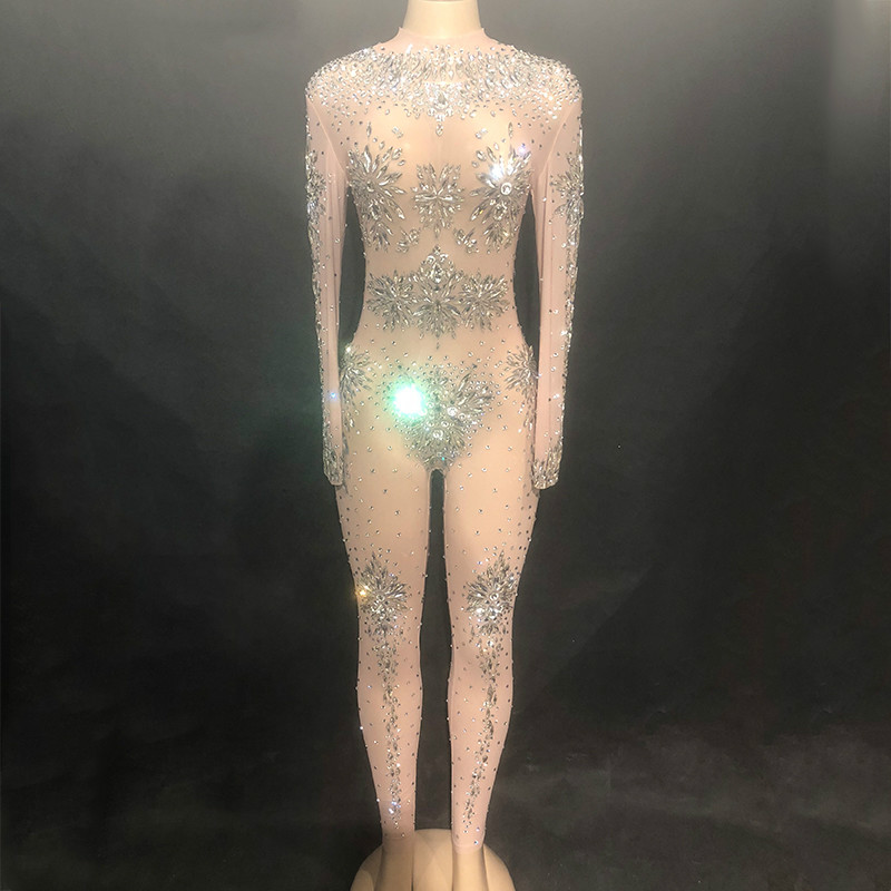 Rhinestones Sparkly Festival Wear Jumpsuit Fashion Sexy Nude Big Stretch Dance Costume One-piece Bodysuit Birthday Party Outfit