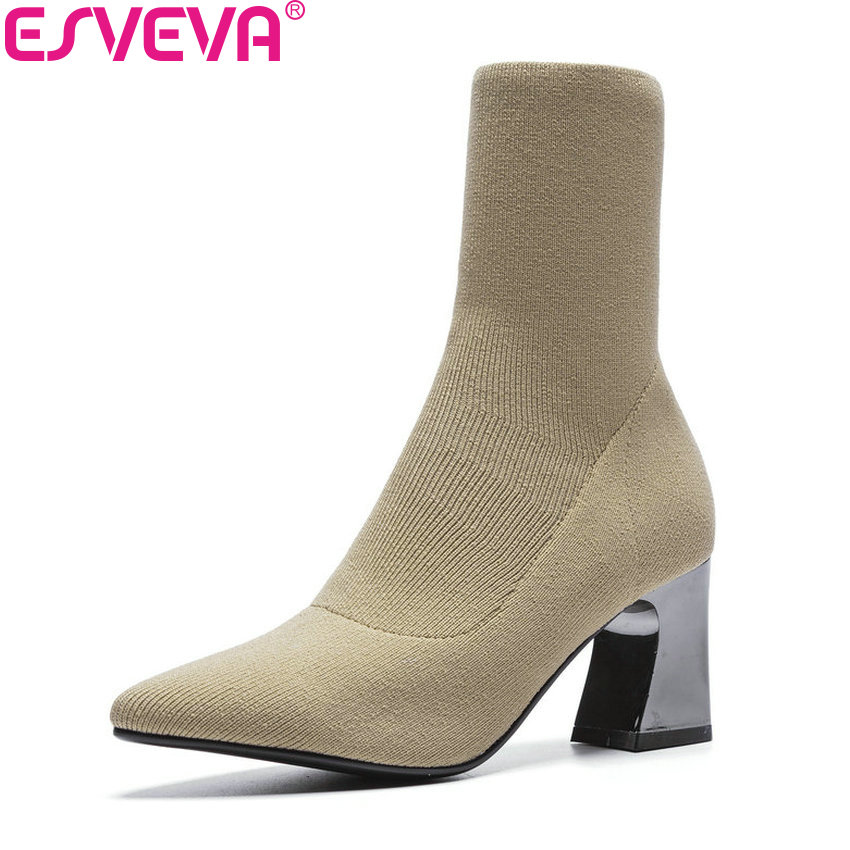 ESVEVA 2019 Women Boots Square High Heels Slip on Knitting Ankle Boots Spring and Autumn Shoes Concise Ladies Boots Size 34-39 цена