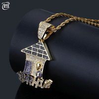 Hip Hop TRAPHOUSE Necklace Pendant Male Female Micro Pave Colorful Cubic Zircon Mens Necklace Rock Jewelry For Gift