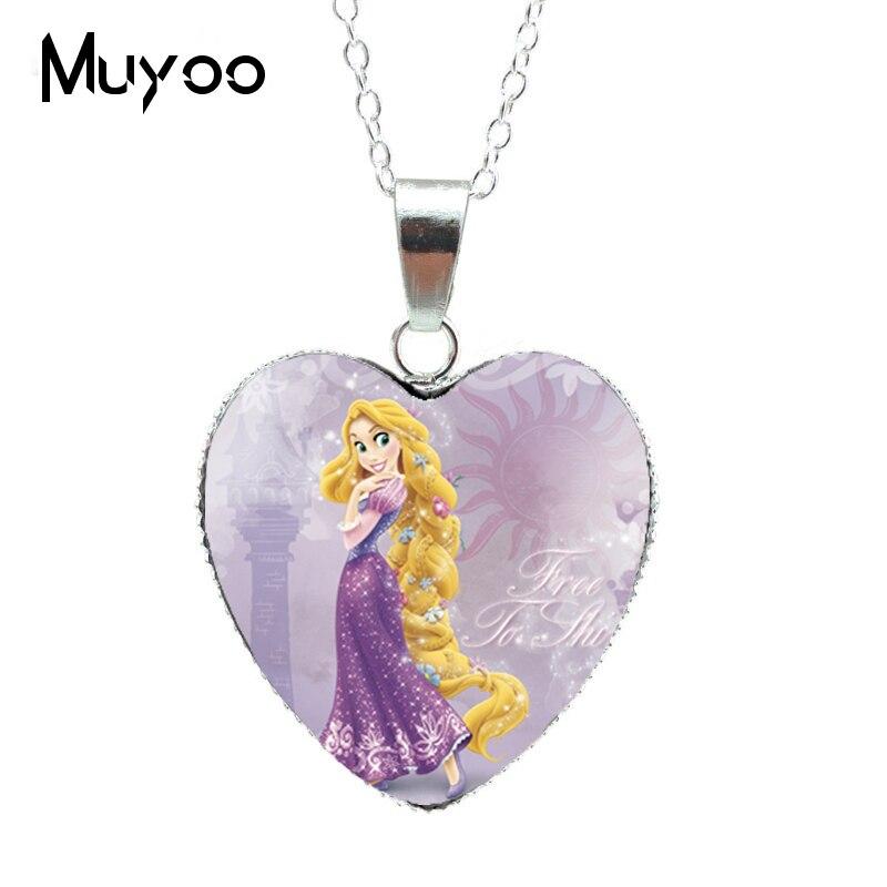 Новая модная красивая серебряная подвеска в виде сердца для принцессы Эльзы, Снежной королевы, ожерелье, ювелирное изделие, подарок для девочки HZ3 - Окраска металла: 2