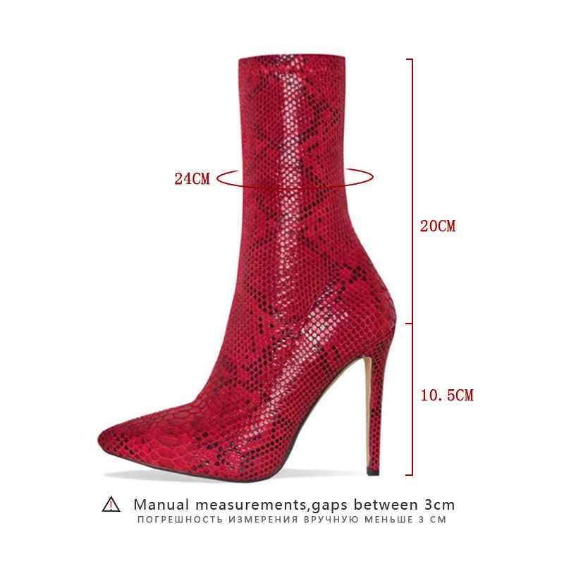 2019 Moda Bahar Chelsea çizmeler kadın ayakkabıları Fermuar Çizmeler Yılan Baskı yarım çizmeler Ince Topuklu Sivri Burun Bayanlar seksi ayakkabılar