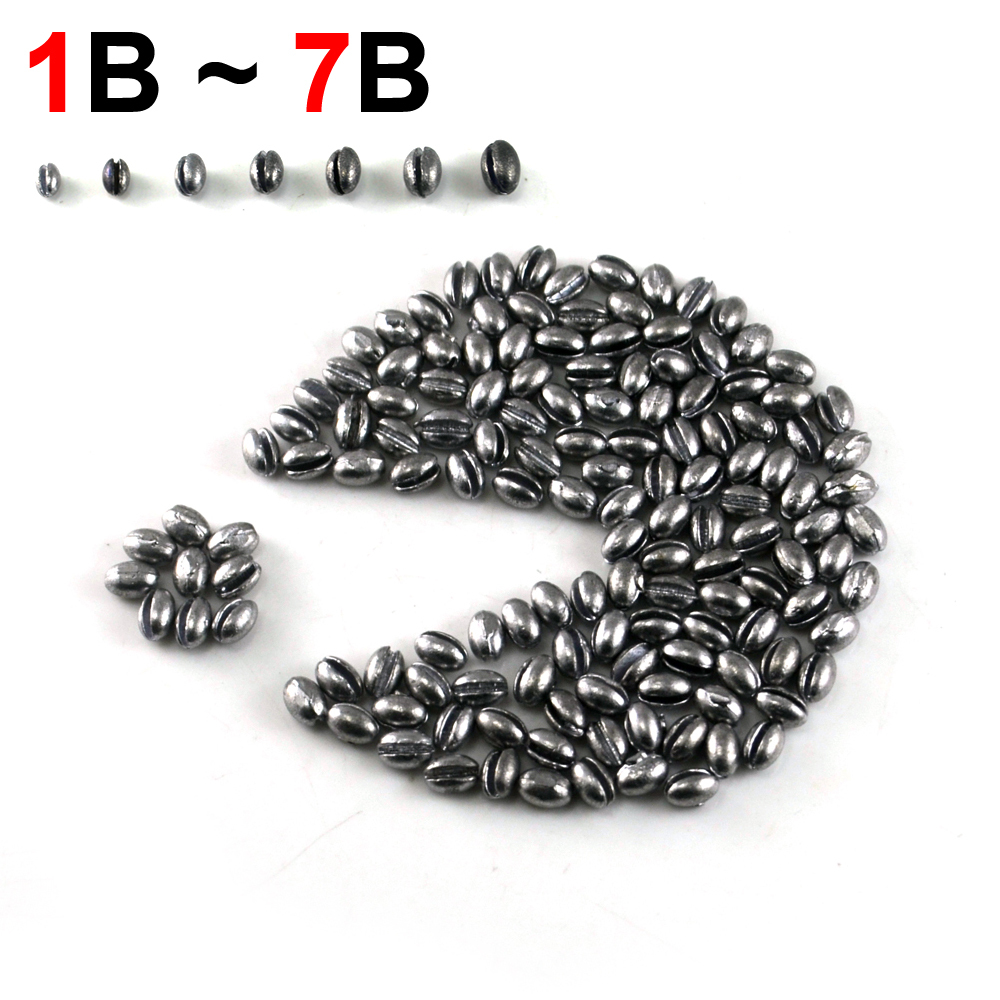 100PCS 1B to 7B Premium Oval Split Shot Lead Fishing Sinker Weight Combo With Box for Option Fishing Accessories [PZ001]