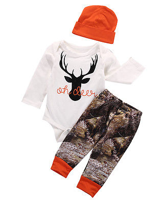 3pcs Christmas Baby Set Baby Boy Girl Autumn Lovely Deer Long Sleeve Romper Jumpsuit+Long Pants Leggings+Hat Baby Clothes Outfit 2017 autumn halloween pumpkin baby clothes newborn infant boy girl long sleeve romper tops leggings pants hat outfit 2pcs