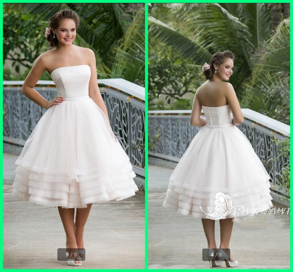 Petite Gowns For Weddings: Stylish A Line White Petite Mid Length Wedding Dresses