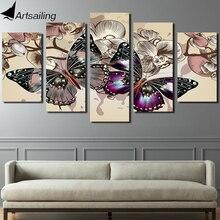 HD Отпечатано 5 шт. холсте цветок бабочки живопись 5 шт. картины настенные панно для гостиной ny-2637