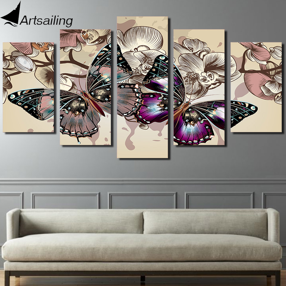 HD Printed 5 piece canvas art flower buts