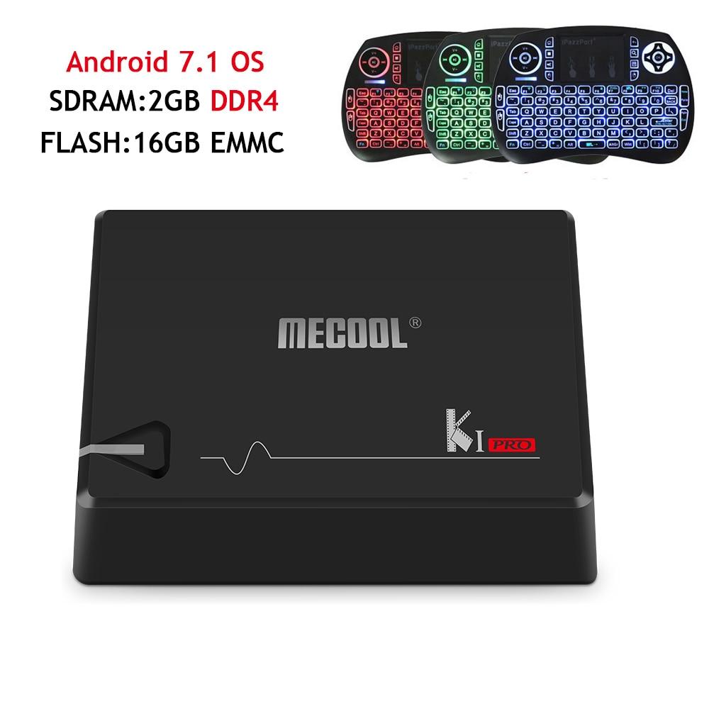 KI Pro DVB S2 DVB T2 Android 7.1 TV Box Amlogic S905D Bluetooth 2GB/16GB 2.4G/5G Wifi DVB-T2&S2 Satellite Receiver+backlight i8 i box rs232 dvb s satellite smart sharing nagra 3 dongle black