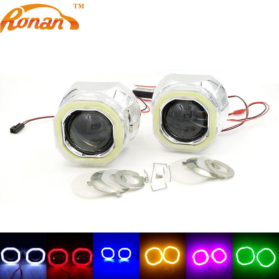 Prix pour RONAN 2.5 ''Bi Xénon Mini Projecteur Lentille avec Carré COB Ange yeux 12 V Parking Voiture Style Automobile Phares pour H1 H4 H7