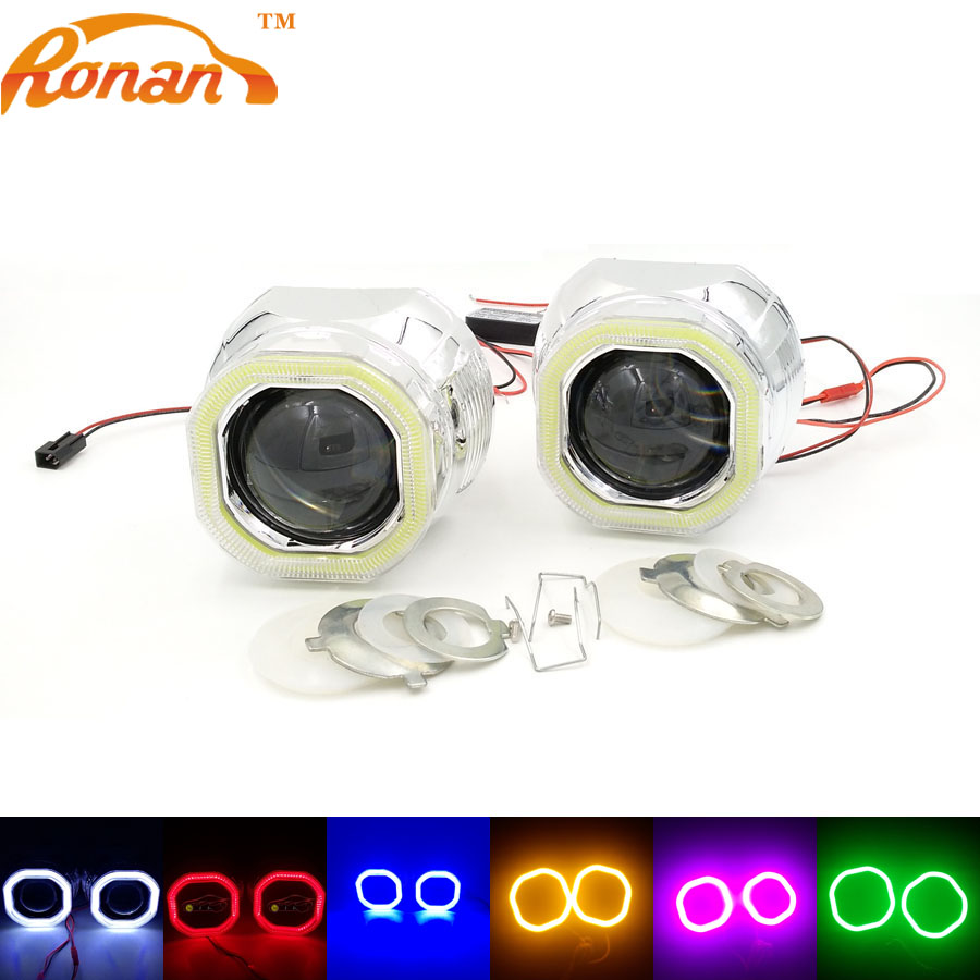 RONAN 2.5Bi-Xenon Mini Projector Lens with Square COB Angel Eyes 12V Parking Car Styling Automobile Headlights for H1 H4 H7 ...
