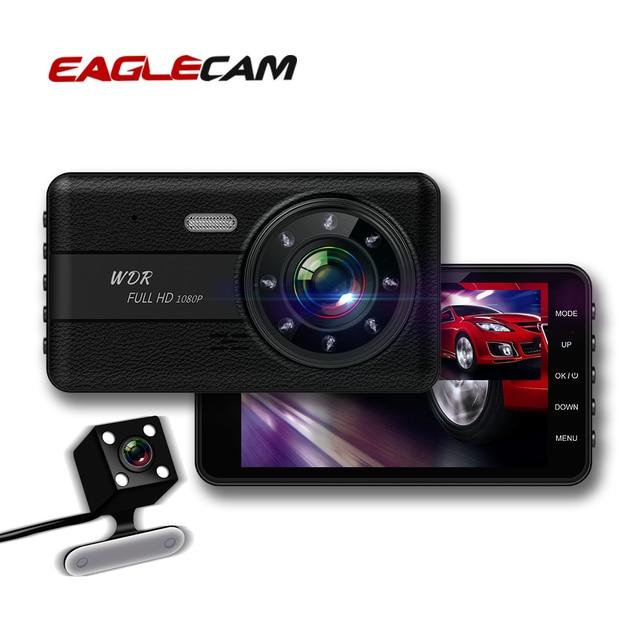 جهاز تسجيل فيديو رقمي للسيارات 2 كاميرات عدسة 4.0 بوصة HD داش عدسة كاميرا مزدوجة مع كاميرا الرؤية الخلفية مسجل فيديو السيارات المسجل DVRs داش كام