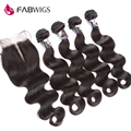 7A Brazilian Virgin Hair with Closure Human Hair Weave 4 Bundles with Closure Brazilian Body Wave Hair Bundles with Lace Closure