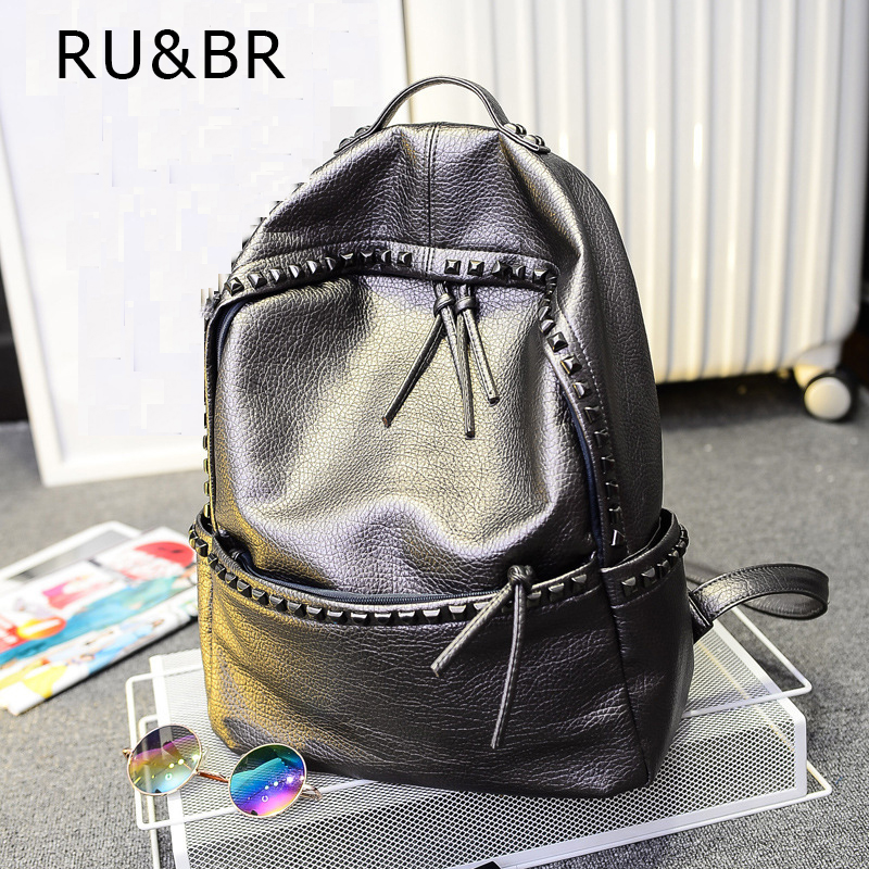 RU BR Vogue Fashionable Bags Teenage Leisure Travel Leather Rivet Backpack Girl Japan Harajuku Female Waterproof