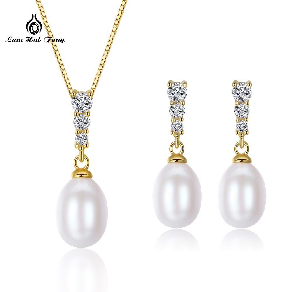 Freshwater Pearl With Beads Jewelry Sets Silver 925 Jewelry wedding decoration For Women Earrings/Pendant/Necklace Set Wholesale solememo luxury crystal pearl jewelry set for women wedding silver round statement necklace sets pearl drop earrings new n6209