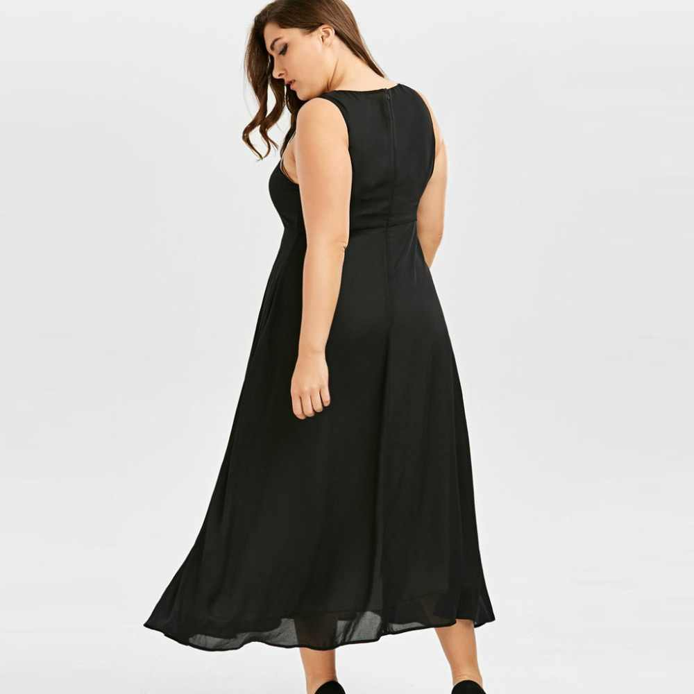 Мода женщин плюс размер v-образным вырезом без рукавов черный белый лоскутное длинное платье 19March05 35%
