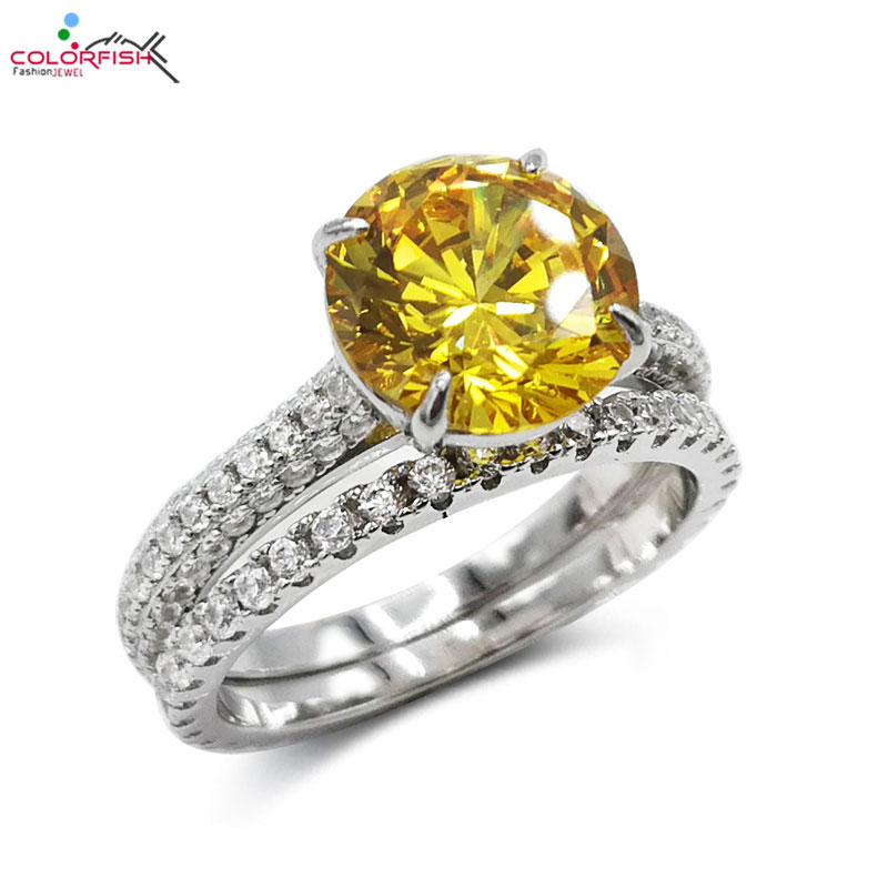 COLORFISH Fashion 3ct Round Bridal Ring Set For Women 925 Sterling Silver CZ Yellow Stone Solitaire Engagement Ring Set 2 PcsCOLORFISH Fashion 3ct Round Bridal Ring Set For Women 925 Sterling Silver CZ Yellow Stone Solitaire Engagement Ring Set 2 Pcs