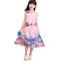 Sweet Children's Wear Girl's Dress Is The Teenage  Floral Dresses Bohemian Fashion Chiffon Beach Dress Summer New Vestidos