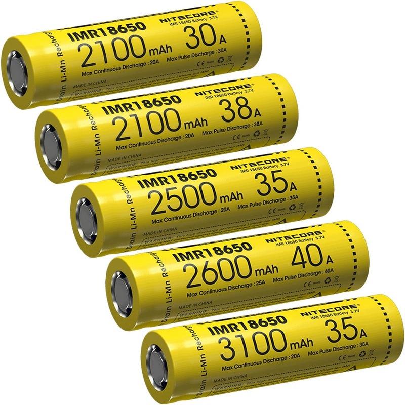 TOPSALE NITECORE IMR18650 3.7V Li-ion Protected Rechargeable Battery FlatTop 2100/2500/2600/3100mAh 30A/35A/38A/40A High-quality стоимость