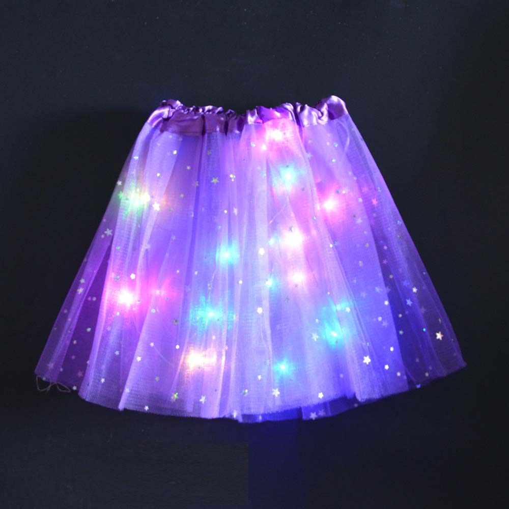 Star Ornament Princess Girls Kids LED Light Up Tulle Tutu Skirts Birthday Party Halloween Costume Role Players Stage Dancing