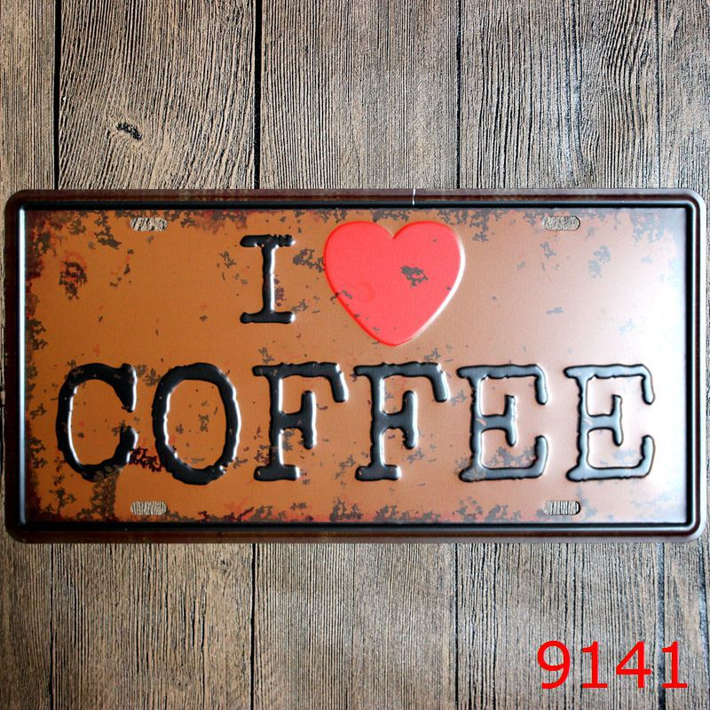 Direct selling Vintage license plate I LOVE COFFEE Wall art craft metal painting vintage Iron for bar home decor 15X30 CM