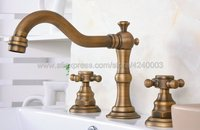 Classic Antique Brass Widespread Bathroom Sink Faucet 3 Hole Basin Mixer Tap Dual Handle Bathroom Faucet Tub Sink Mixer Kan074