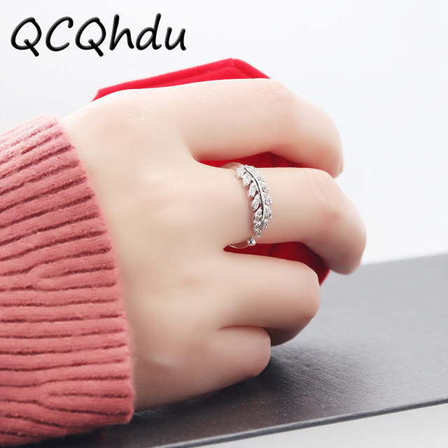 f087204d4d 1PC New Arrival Silver Plated Rings for Women Girl Jewelry Crystal Stone  Leaf Rings Adjustable Ring