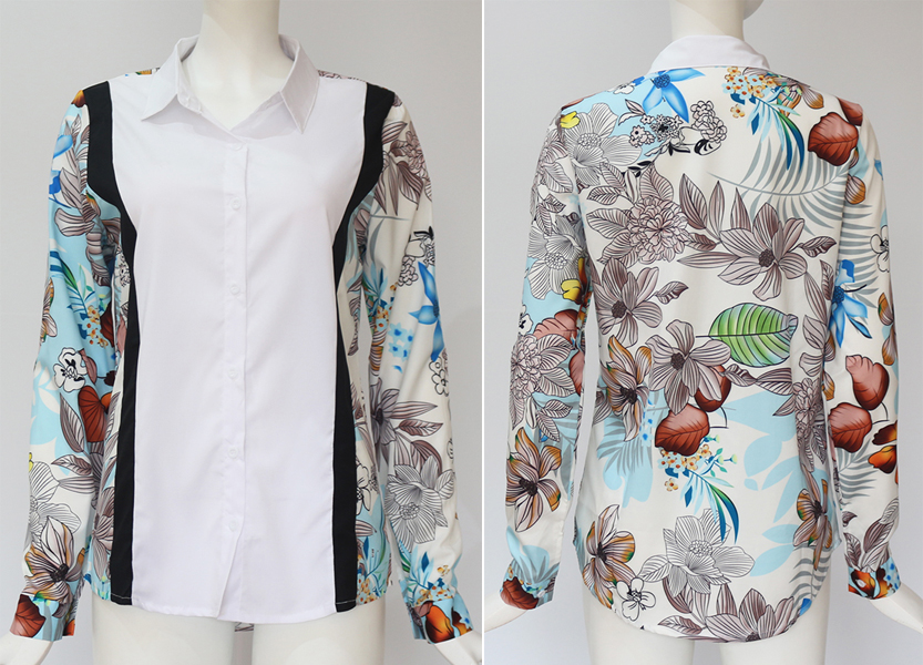Women Blouses Fashion Long Sleeve Turn Down Collar Office Shirt Leisure Blouse Shirt Casual Tops 59