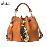 2017 New Women Bucket Ribbon Handbags Bags Fashion Scarf Drawstring Bag Lady Leisure Vintage Shoulder Bag