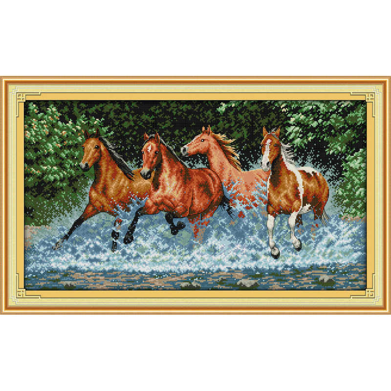 Everlasting love Christmas Horses Chinese cross stitch kits Ecological cotton counted stamped 11 14 CT New store sales promotion