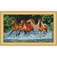 Wieczna miłość boże narodzenie konie chiński krzyż zestaw do szycia ekologiczna bawełna liczona opieczętowana 11 14 CT promocja sprzedaży nowego sklepu
