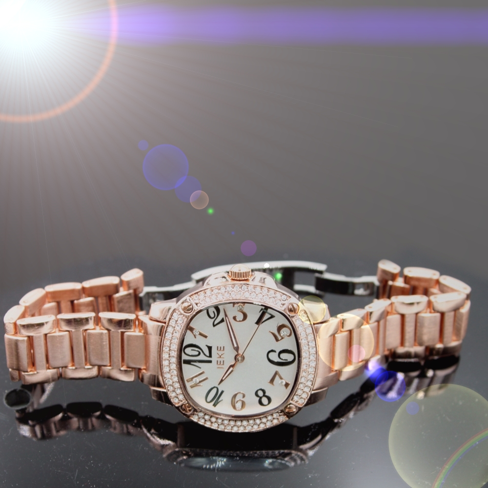 Lover Stylish New 2PCS./ Pack Rose Gold & Silver Metal Band Stainless Steel Buckle Unisex Watchcase Fashion Watch FW950AB