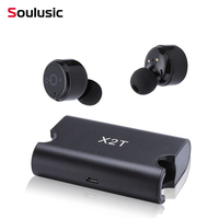 Soulusic X1T/X2T Mini Wireless Earphone Noise Canceling Headphones Bluetooth Headset with 1500mAh Power Bank Box for Phones