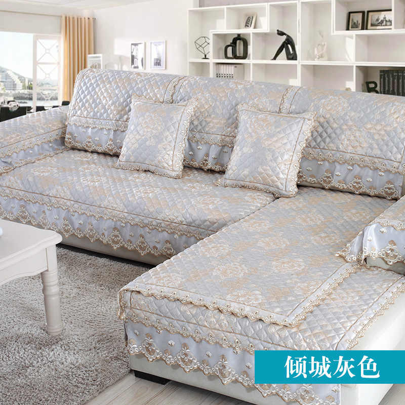 European Lace Sofa Cover Linen Towel Couch Slip Combination Slipcover For Corner Seat
