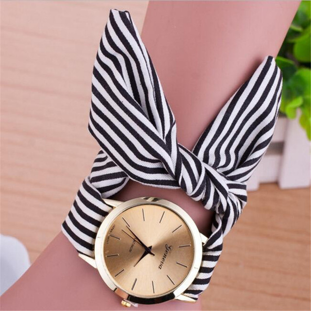 Sweet Pink Ribbon Bohemian Women Watch Striped Cloth Fabric Quartz Wristwatch Ca
