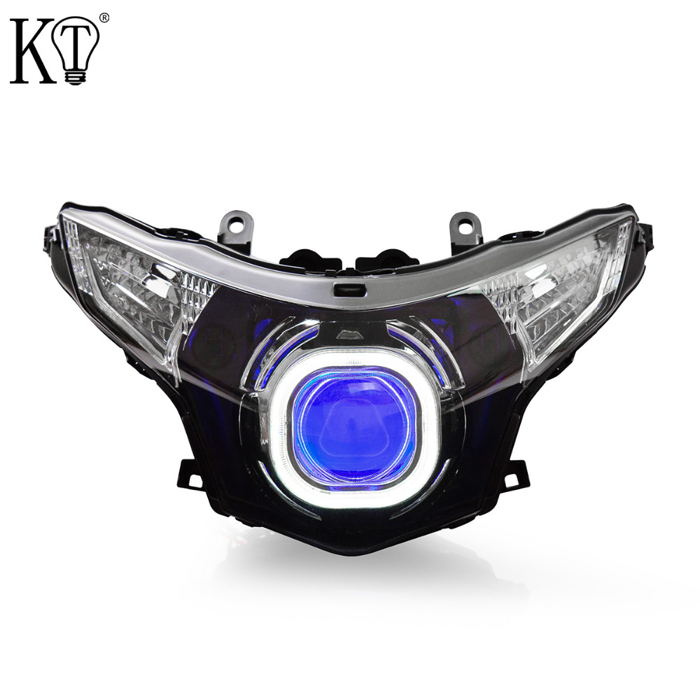 KT Headlight for Honda CBR250R 2012 2013 2014 2015 2016 LED Angel Eye Blue Demon Eye Motorcycle HID Projector Assembly