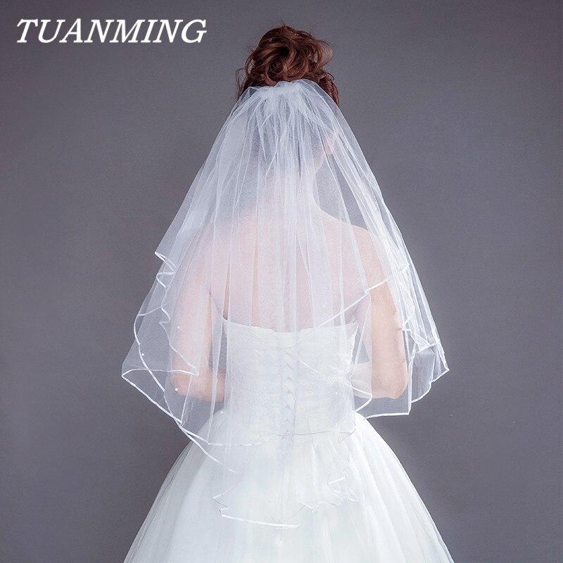 Bridal Veil Wedding Accessories Two Layer Ribbon Edge White Wedding Veils Bridal Veil With Comb Bridal Veils 2018