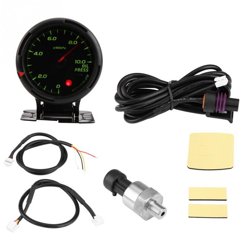 12V 64 Color LED Backlight Oil Pressure Meter Gauge 10Bar with Sensor NPT1 8 for Auto