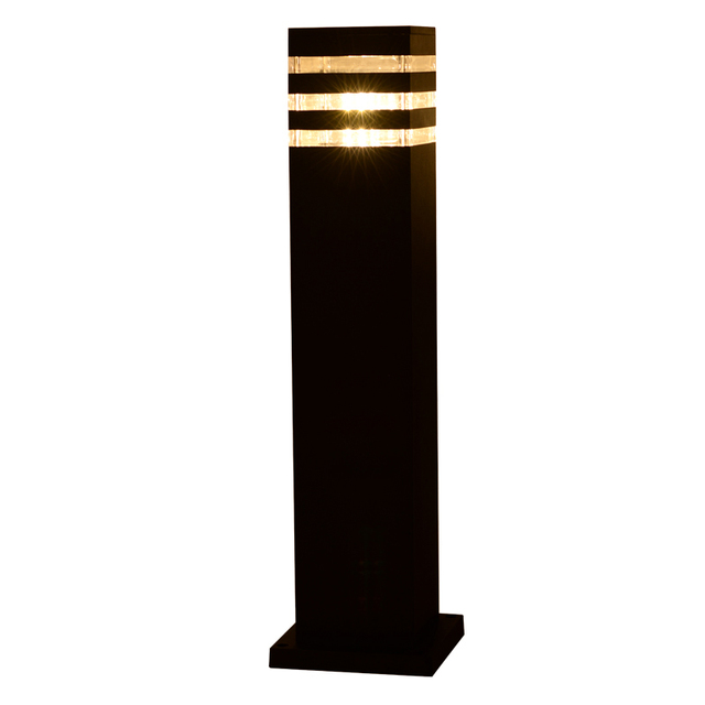 2 Pieces Garden Park Led Pole Lamp Light Outdoor Porch Page Walkway Rod Bollard Lawn Post