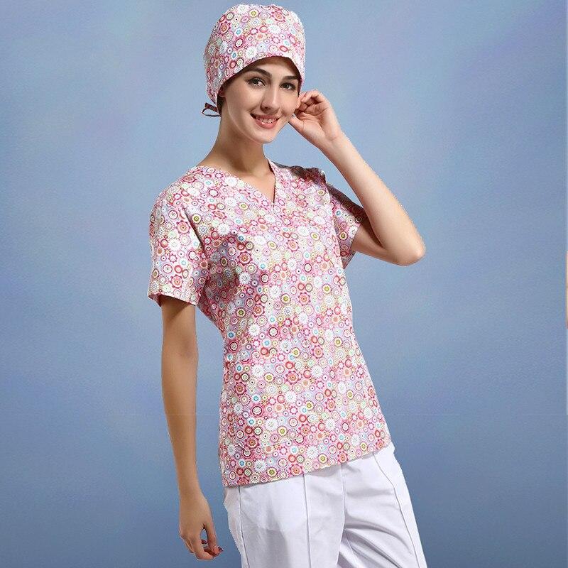 2018 Medical Uniforms Doctor Nurse Uniform Hospital Medical Scrub Clothes Operating Room Short Sleeve Cotton Printing Clothes
