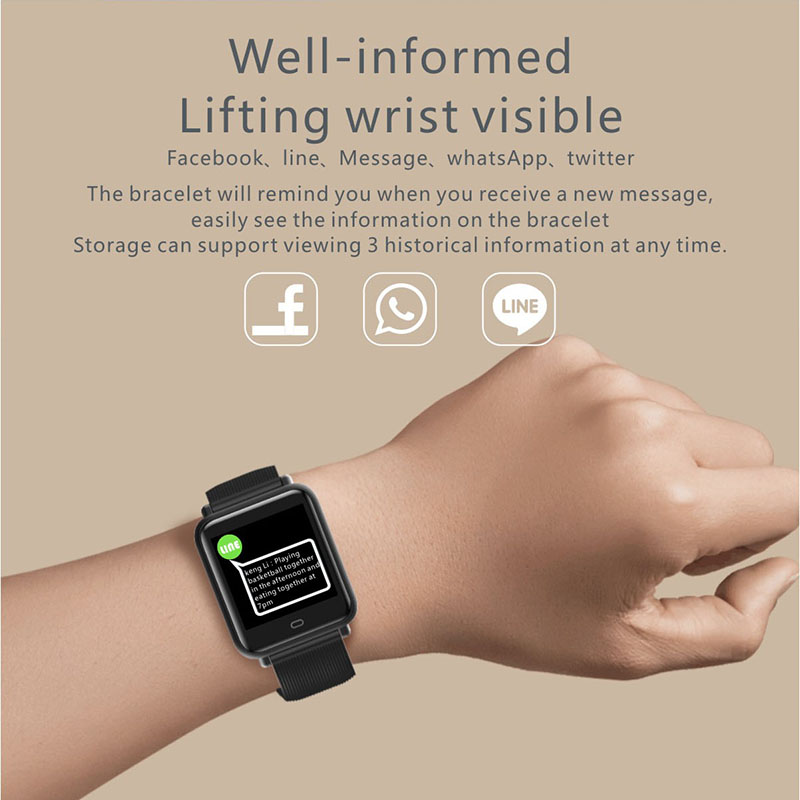 Q9 Smart Watch Blood Pressure Heart Rate Sleep Monitor Bracelet IP67 Waterproof Sport Fitness Trakcer Watch Men Women Smartwatch