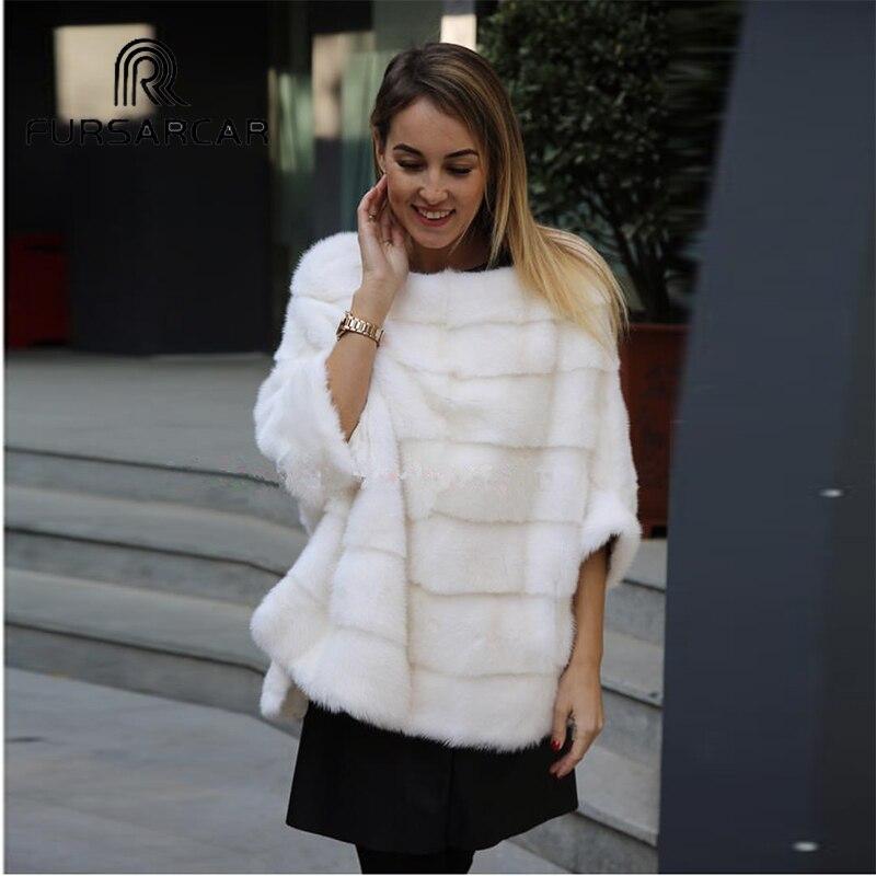 Abrigo de piel de visón Real para mujer de lujo FURSARCAR Poncho de piel auténtica chaqueta de invierno Natural para mujer capa de piel Real chal de abrigo-in piel real from Ropa de mujer    3