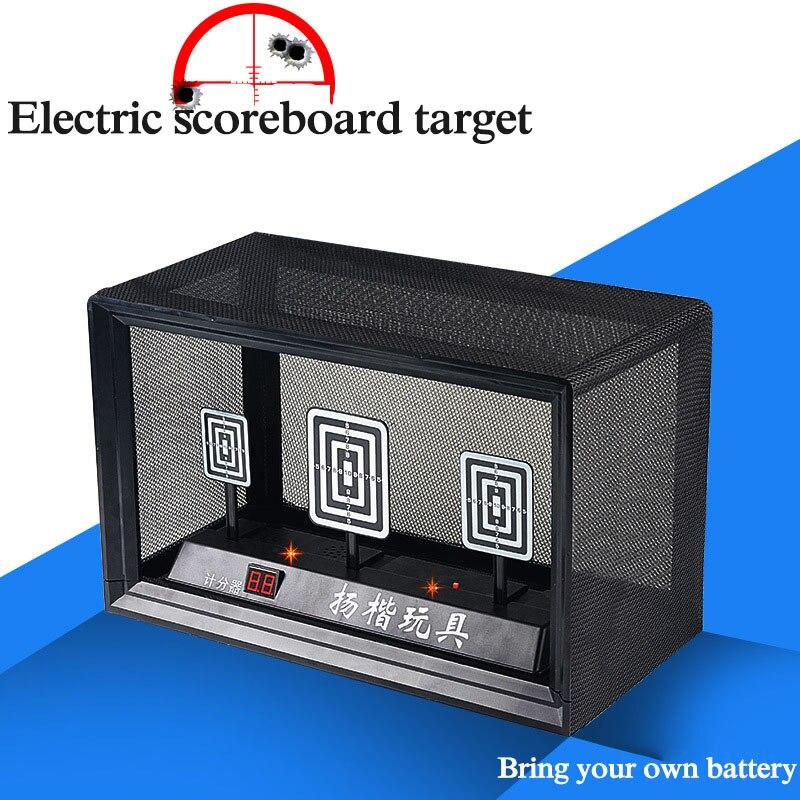 Automatique retour électrique score cible électrique jouet eau balle pistolet extérieur cs jeu de bataille jouer jouet lumière son effet accès