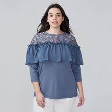 8e9fb65622ef39 Blouse Lace Patchwork Plus Size Blouse Women 2018 Summer Royal Blue Women  Blouses 6XL 7XL Ladies