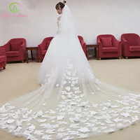 SSYFashion Married Wedding Veil 3M Long Trail Romantic Lace Rose Flower Appliques White Ivory Bridal Veil Wedding Accessories