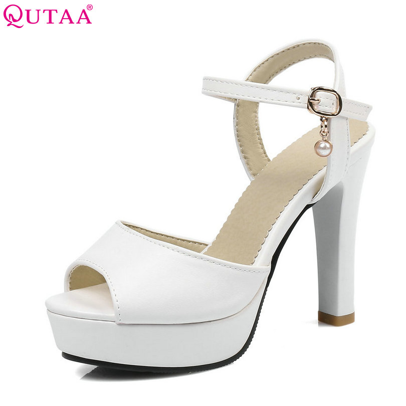 QUTAA 2017 Women Sandals Square High Heel Platform Women Shoes Ankle Strap Slingback Peep Toe Ladies Wedding Shoes Size 34-43