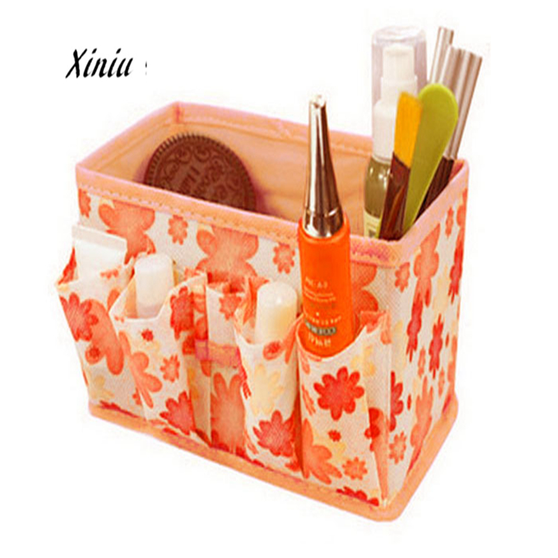 Xiniu Cosmetic Storage Box Bag Floral  Foldable Stationary Container Organizador Trousse Maquillage Femme A7725 Toiletry Bag multifunctional car storage box container beige