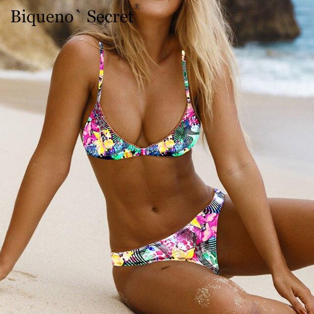 d9f104a23a Micro Bikini Biquini 2019 Print Sexy Bathing Suit Push Up Swimwear Women  Pad Bandage Swimsuit Maillot De Bain Femme Mini Bikinis