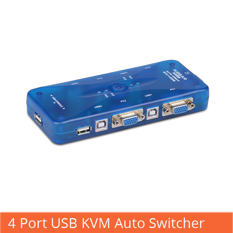 4 Port USB KVM Auto Switch Selector 4 In 1 Out Vga Switch Multiple Computers Share A Set Of Mouse And Keyboard Display FJ-104UK