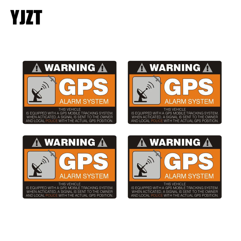 YJZT 4X 8CM*5.3CM Warning Car Sticker GPS Alarm System Decal PVC 12-0911